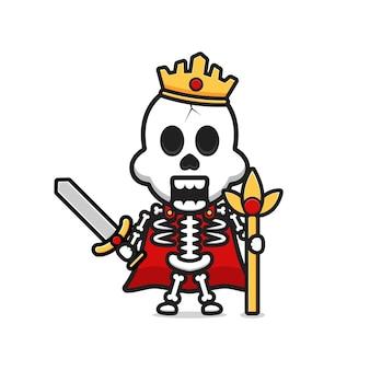 Rei esqueleto segurando a ilustração do ícone dos desenhos animados de espada. desenhe o estilo de desenhos animados planos isolados Vetor Premium