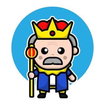 Rei fofo com personagem de desenho animado de coroa
