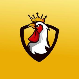 Rei galo mascote logotipo projeto vector com estilo moderno conceito de ilustração para crachá