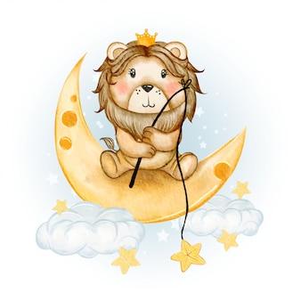 Rei leão bonito pesca estrela ilustração aquarela