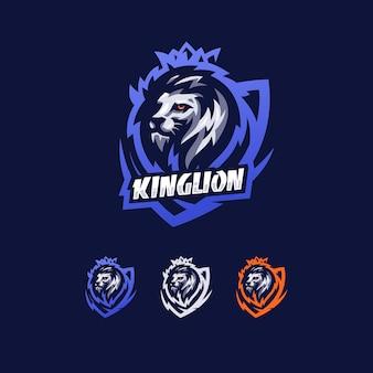 Rei leão com escudo esport estilo modelo de design de logotipo