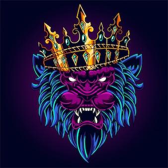 Rei leão com ilustração de coroa