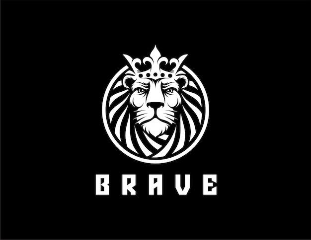 Rei leão com logotipo da coroa