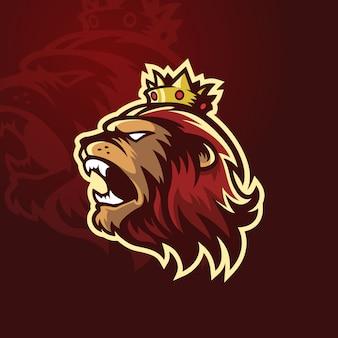 Rei leão com logotipo de esporte de coroa