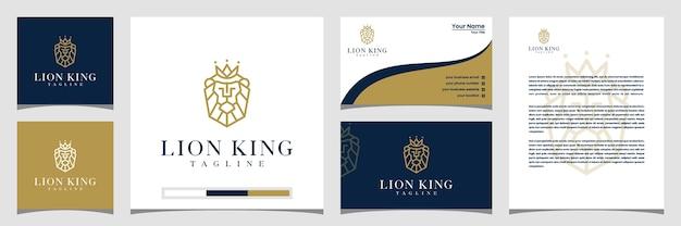 Rei leão, coroa, design de logotipo com cartão de visita de estilo de arte de linha e papel timbrado