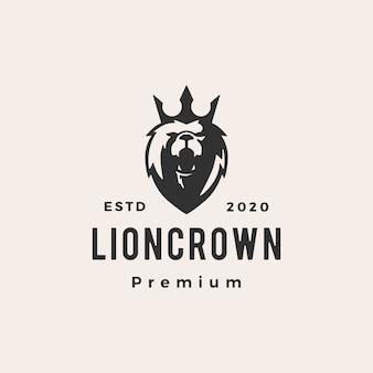 Rei leão coroa hipster logotipo vintage icon ilustração