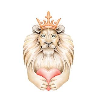 Rei leão em aquarela segurando um coração
