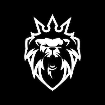 Rei leão escudo logo icon ilustração