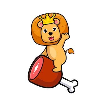 Rei leão fofo cavalgando uma carne e acenando com a mão