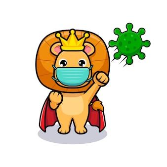 Rei leão fofo usando máscara e lutando contra vírus