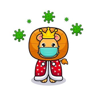 Rei leão fofo usando máscara para ilustração de ícone de design de prevenção de vírus