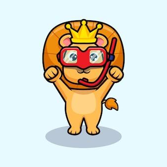 Rei leão fofo usando óculos de natação