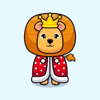 Rei leão fofo vestindo capa Vetor Premium