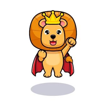 Rei leão fofo voando como super-herói