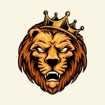 Rei leão mascote cabeça coroa