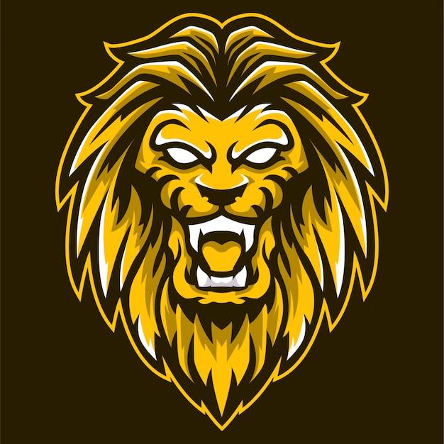 Rei leão mascote cabeça logotipo