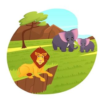 Rei leão relaxante mãe e bebê elefante zoo