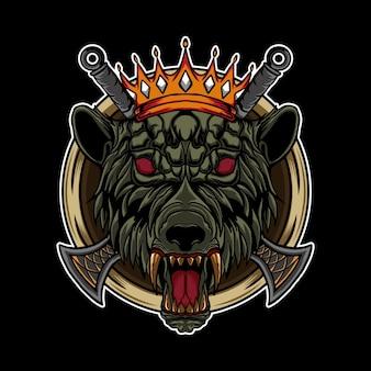 Rei lobo com espada e ilustração de coroa