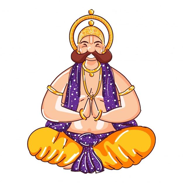 Rei mahabali doing namaste dos desenhos animados em pose de assento.