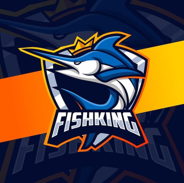 Rei mascote peixe esport logotipo design