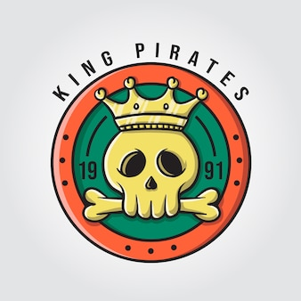 Rei piratas com logotipo de caveira e ossos
