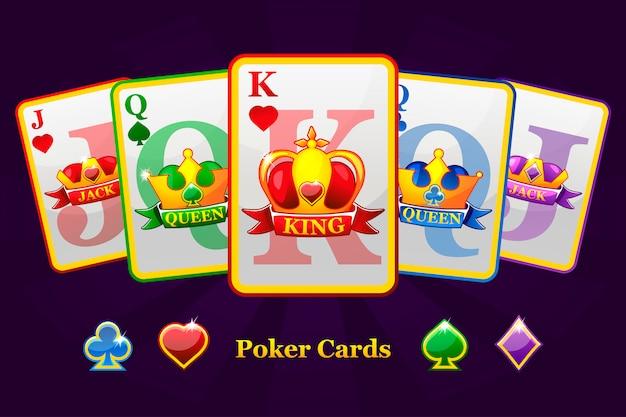 Rei, rainha e valete ternos de baralho com coroa e fita. símbolos de poker dos desenhos animados para o gráfico de cassino e gui.