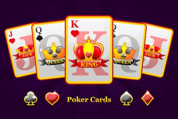 Rei, rainha e valete ternos de baralho com coroa e fita. símbolos de pôquer para cassino e gráfico de gui.