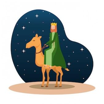 Rei sábio em caráter de manjedoura de camelo