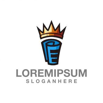 Rei simples ícone logotipo papel