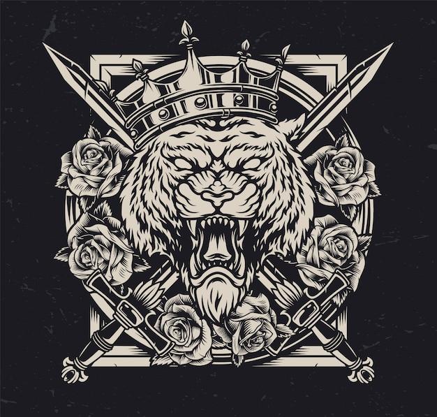 Rei tigre irritado no conceito autêntico de coroa