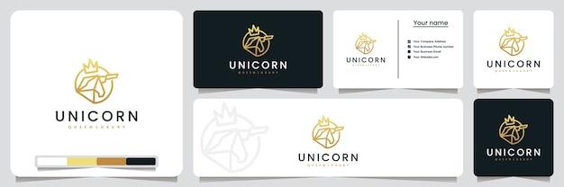 Rei unicórnio, coroa, com estilo de arte de linha e cor dourada, inspiração para design de logotipo