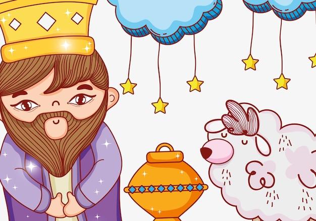 Rei usando coroa com nuvens estrelas e ovelhas