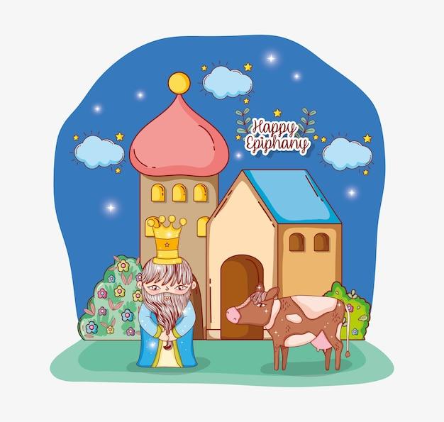 Rei vestindo coroa com vaca e casa com estrelas