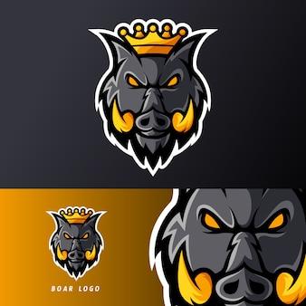Rei zangado porco animal javali ou esport jogo mascote logotipo modelo para equipe de flâmula