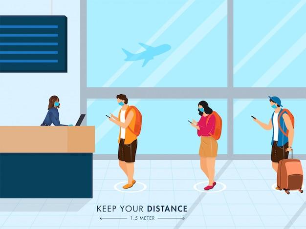 Reinicie o conceito de viagem após a pandemia com a mensagem manter distância social.