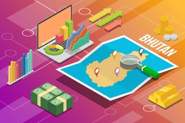 Reino do butão isométrica negócios economia crescimento país