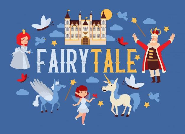 Reino dos desenhos animados de conto de fadas rei rei princesa personagem no castelo torre de palácio de conto de fadas