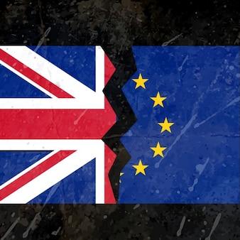 Reino unido e da ue conceito bandeira quebrado