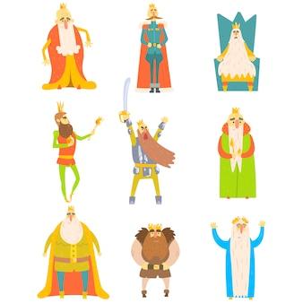 Reis de conto de fadas conjunto de ilustrações divertidas dos desenhos animados