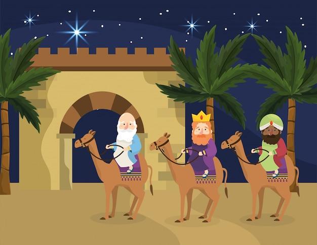Reis magos montam camelos com palmeiras
