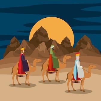 Reis magos viajando na cena do natal no deserto