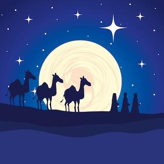 Reis sábios em personagens de manjedoura de camelos