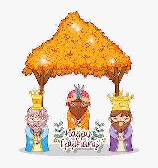 Reis vestindo coroa na manjedoura com folhas de galhos