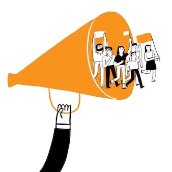 Reivindique o conceito de negócio. um manifestante passa por um megafone. ilustração vetorial desenho à mão estilo doodle