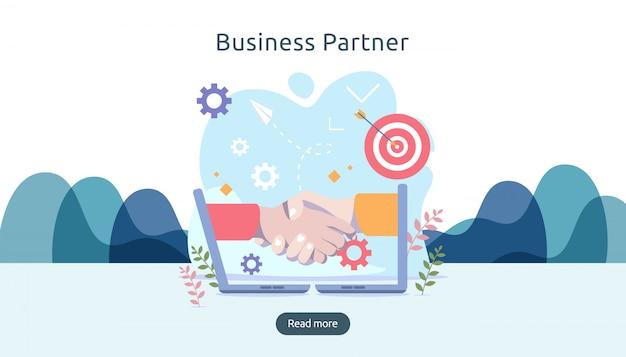 Relação de parceria de negócios com shake de mão e caráter de pessoas pequenas. conceito de trabalho em equipe.