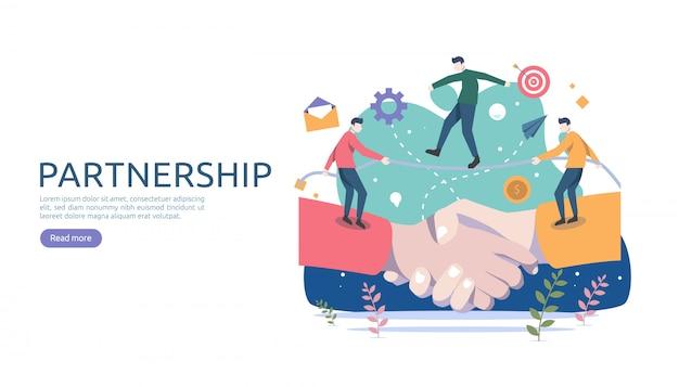 Relação de parceria de negócios com shake de mão e caráter de pessoas pequenas.