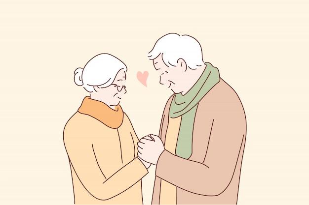 Relacionamento, amor, casal, romance, conceito de velhice
