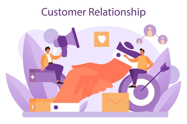 Relacionamento com o cliente. programa comercial de retenção de clientes. ilustração vetorial plana