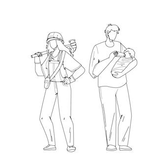 Relacionamento de igualdade de gênero homem e mulher linha preta desenho vetorial. jovem com equipamento trabalhando duro e pai de menino alimentando bebê recém-nascido, igualdade de gênero. ilustração de personagens
