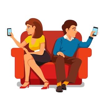 Relacionamento familiar de dependência de smartphones